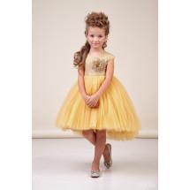 Платье нарядное с асимметричной юбкой цвета золото