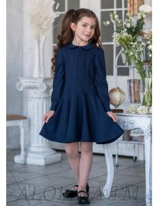 """Платье темно-синего цвета с юбкой полусолнце """"Одноклассница"""""""