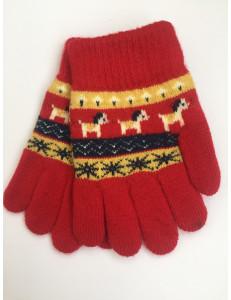 Перчатки осенние красного цвета с изображением пони