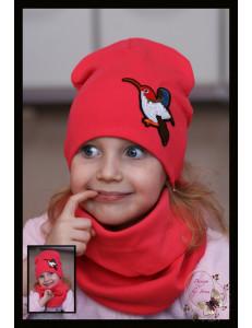 """Комплект для девочек коралловый (удлиненная шапка и снуд) """"Колибри"""""""