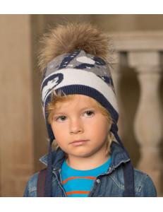 Шапка на мальчика зимняя серо-коричневая в берлоге