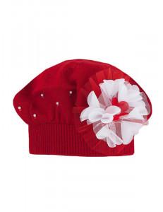 """Берет красного цвета с пышным цветком """"Виолетта"""""""