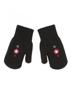 Варежки зимние темно-коричневого цвета со звездами YES