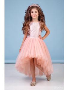 """Платье нарядное со шлейфом персикового цвета """"Аура"""""""