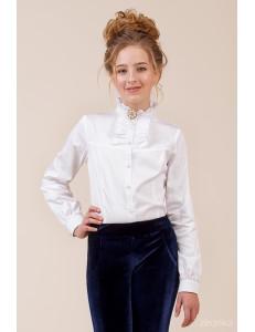 """Блузка белого цвета с длинным рукавом """"Брошь"""""""