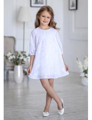 Платье-трапеция нарядное белого цвета Дороти